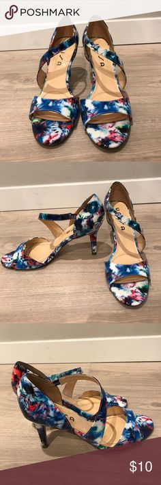 Colorful Floral Heels Great heels for the summer! Strappy floral heel. Women's size 10. Used normal. Unisa Shoes Heels
