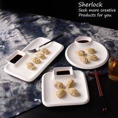 Kabartma beyaz seramik hamur plaka sos tekne ile porselen aperatif plaka çanak seramik yemek tabağı