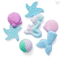 Sweet-smelling bath bombs that bring ocean magic to her bath. Bath Booms, Bubble Guppies Party, Baby Doll Nursery, Mermaid Bathroom, Lush Bath Bombs, Bath Girls, Toys For Girls, Bath And Body, Crafts For Kids
