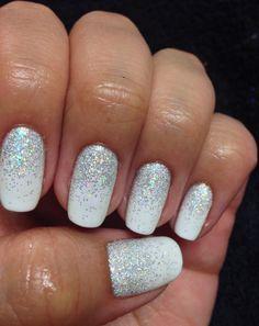 White sparkly glitter shellac gel nails gelish