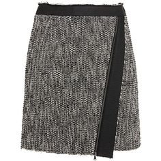 MSGM Tweed Mini Skirt (400 CAD) ❤ liked on Polyvore featuring skirts, mini skirts, msgm skirt, wrap front skirt, asymmetrical skirt, tweed skirt and short skirts