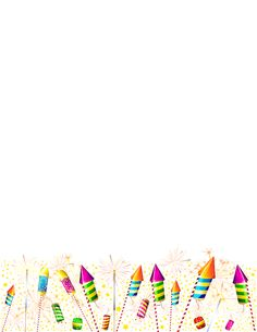 Printable fireworks border. Free GIF, JPG, PDF, and PNG downloads at http://pageborders.org/download/fireworks-border/. EPS and AI versions are also available.