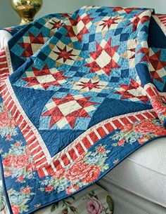 Star Harbor Quilt Nestle beneath a starry summertime sky with this lovely throw quilt designed by Eileen Fowler. Two different star blocks set on point create a unique secondary design. The finished s