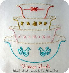 Embroidery Vintage Pyrex Bowls
