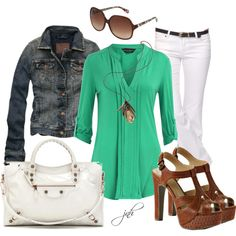 Casual Saturdays...  Green pleat front top, jean jacket, flare white jeans, LC Platforms & white bag to go.