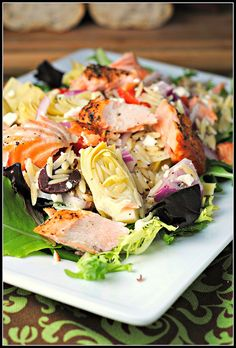 Mediterranean Salmon Salad (www.preventionrd.com)   {instead of orzo, sub with pine nuts and/or pistachio nuts for grain free, low carb, gluten free}
