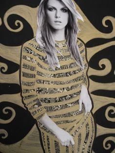 In this project, students create an elegant drawing in the ornamental, decorative and luxurious style of Austrian artist Gustav Klimt.Instead of gold scratchboard, as used in the original lesson on the IAD site, we simply used gold markers and gel pens on black paper.