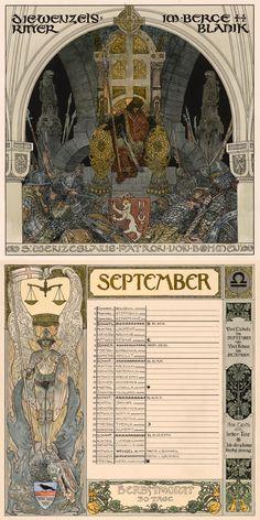 Calendar sheets for September depicting Saint Wenceslaus I, Duke of Bohemia by Heinrich Lefler and Josef Urban. Published 1899 as part of an Austrian calendar.