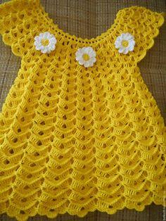 Crochet Baby Dress Free Pattern, Crochet Toddler Dress, Crochet Stitches Free, Crochet Baby Cardigan, Baby Girl Crochet, Crochet Baby Clothes, Knit Crochet, Baby Hats Knitting, Baby Knitting Patterns