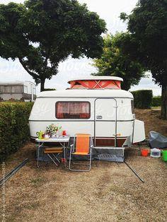 Vintage caravan on a camping in France by Ivar Teunissen. An exclusive image… Caravan Vintage, Vintage Rv, Vintage Caravans, Vintage Trailers, Vintage Campers, Small Travel Trailers, Tiny Trailers, Camper Trailers, Camper Caravan