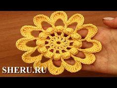 How To Make Crochet Flower Урок 89 Вязаный цветок крючком - YouTube