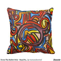 Down The Rabbit Hole -Abstract Expressionism Throw Pillow with Hand Painted Brushstrokes in Bold Earth Colors