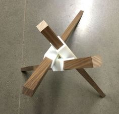 This is my first exploration into 3d-printed furniture components. The goal is to come up with a system of simple wood pieces and 3D connectors that can be easily assembled to make a variety of furniture types.