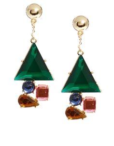 Image 1 ofASOS Diamond Drop Earrings