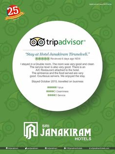 AGAIN A HAPPY CUSTOMER  Thank you for your reviews, Shiva from #Trichy  We are happy that you enjoyed your #stay at our #hotel. Thank you for your compliments. See you back soon to serve you better. Know more reviews now at : http://www.tripadvisor.in/Hotel_Review-g1584851-d1457288-Reviews-Sri_Janakiram_Hotels-Tirunelveli_Tamil_Nadu.html