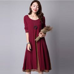 Cheap dress long sleeve tunic dress, Buy Quality dress graphics directly from China dresses princess Suppliers:        Hot Sale 2015 Women Casual Solid Autumn Dress Loose Full Sleeve V Neck Button Dress Cotton Linen Boho Long Maxi D