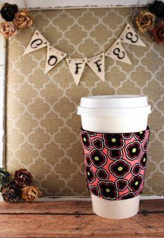 Black Flowers on Pink - Flower Coffee Cozy - Coffee Cozy - Fabric Coffee Cozy - Tea Cozy by SewLoveToSew on Etsy