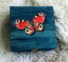 Butterfly Hand Painted Wooden Box Birthday Gift Jewelry Box Wizard World Keepsake Box Art Blue Red Green Lock Gift for Her Unique JaN:)Art