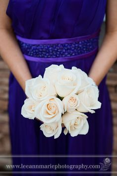 purple maid of honor dress, with ivory flowers