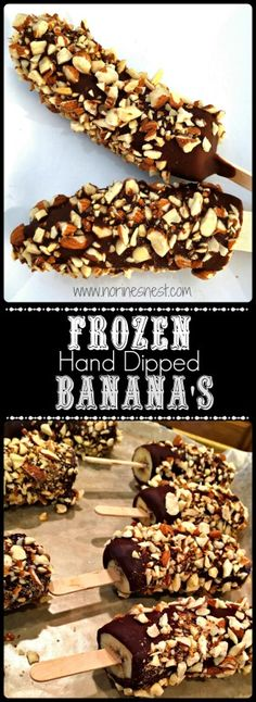 This is a wonderful summertime frozen treat! What could better than a frozen banana dipped in semi-sweet chocolate and rolled in toasted almonds! So Yummy!