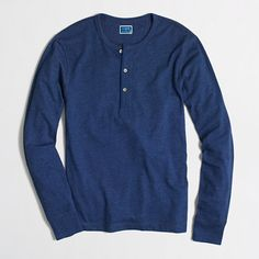J.Crew Factory - Factory marled cotton henley large slim in green or navy