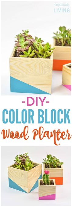 DIY Color Block Wood Planter Simplistically Living #ad #GardensNotLandfills @EcoScraps