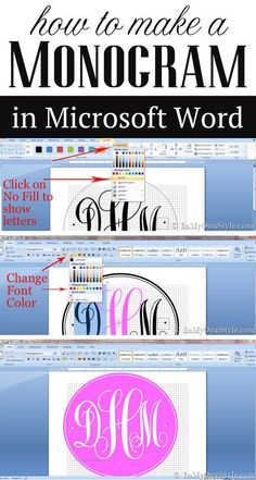 Tutorial on how to make your own monogram using Microsoft Word. Once you make the monogram you can resize it to use to decorate your home, make notecards...and more.
