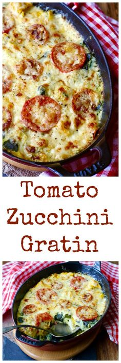 Tomato Gratin This Zucchini Tomato Gratin is one of my favorite summer dishes. It is really easy to make, and is a great way to use up all of your summer squash bounty. Zucchini Tomato Gratin is one of my favorite summer dishes. Side Dish Recipes, Veggie Recipes, Vegetarian Recipes, Cooking Recipes, Healthy Recipes, Vegetarian Cooking, Vegetable Gratin Recipes, Summer Vegetable Recipes, Vegetarian Cheese