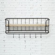 Country Chic Shelf with Hooks - Unique Modern Furniture - Dot & Bo Wire Basket Shelves, Wall Shelf With Hooks, Wall Mounted Shelves, Baskets On Wall, Display Shelves, Shelving, Wood Shelf, Display Ideas, Kitchen Shelves