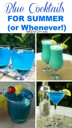 Fun Blue Cocktails for Summer or whenever ! Message for 21+ readers only