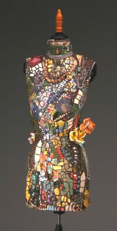 Dress Form, Pastels on Dark Background, Orange Capodimonte Flowers, beads, vintage jewels and other treasures.