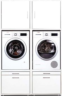 Washing machine cabinet with increased installation position of your washer or dryer. Utility room Cupboard with numerous expansion possibilities with the help of top cabinets and other basic cabinets. Laundry Closet, Small Laundry Rooms, Laundry Room Organization, Laundry In Bathroom, Interior Design Living Room Warm, Living Room Designs, Laundry Room Inspiration, Room Paint Colors, Living Room Seating