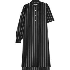 Balenciaga Striped cotton-poplin shirt dress ($580) ❤ liked on Polyvore featuring dresses, black, cotton poplin dress, asymmetrical stripe dress, sleeved dresses, balenciaga and stripe shirt dress