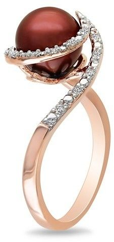 8-8.5mm Cultured Chocolate freshwater Pearl & 1/10 Carat Diamond Sterling Silver Ring w/Pink Rhodium