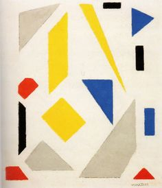 Vilmos Huszár was a Hungarian painter and designer. He lived in The Netherlands, where he was one of the founder members of the art movement De Stijl. Piet Mondrian, Abstract Geometric Art, Abstract Shapes, Bauhaus, Theo Van Doesburg, Arte Popular, Art Archive, Mural Art, Illustration Art
