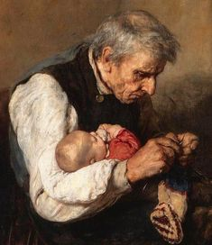 """""""grandfather and grandson"""" - details Nikolaos Gyzis (Greek painter - Knitting, chrochet and sewing cards - Art And Illustration, Illustrations, Artist Painting, Painting & Drawing, Figurative Kunst, Knit Art, Anatomy Art, Vintage Knitting, Beautiful Paintings"""