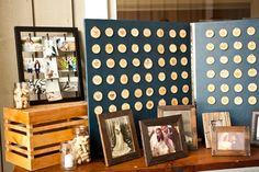 wedding wood disc seating | OUR WEDDING BOARD!! : ) / We cut and sanded discs of wood, then used ...
