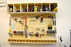 tool storage shop drill garage idea organization drill cubby hang shelf wood plans ANA-WHITE.com