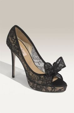 Hello, beautiful Bow Trim Lace Pump by Valentino. (nordstrom.com) by adriana