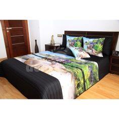 Čierne prehozy na posteľ s motívom pláže