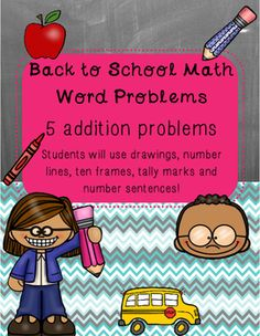 This package includes 5 addition word problems. Students will use different combinations of drawings, number lines, ten frames, tally marks and number sentences to solve each problem. These would be a great introduction to math problem-solving or a great review in your math centers! TpT $1.00