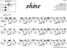 "The full drum sheet music for ""Shine"" by Collective Soul from the album Hints Allegations and Things Left Unsaid Drum Sheet Music, Drums Sheet, Drum Notes, Drum Key, Collective Soul, Music Stand, Snare Drum, Ready To Play, Your Music"