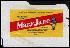 images of 1970's candy | CC_Charles N Miller Co - Mary Jane - 1 1-2 oz candy wrapper - 1970's