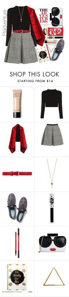 """Plaidventure"" by yoo-q ❤ liked on Polyvore featuring Bobbi Brown Cosmetics, Marc Jacobs, Gucci, Aéropostale, Keds, Lime Crime, Alice + Olivia, Glenda López and Michael Kors"