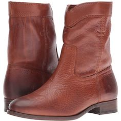 Frye Cara Roper Short (Cognac Soft Pebbled Full Grain) Women's Pull-on... ($328) ❤ liked on Polyvore featuring shoes, boots, ankle booties, ankle boots, low heel booties, chunky platform boots, short ankle boots, chunky-heel ankle boots and chunky booties