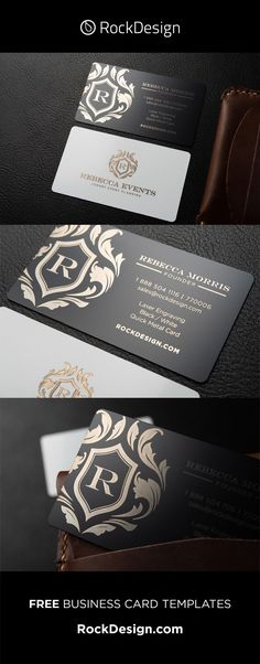 Elegant black and white free online business card design - Rebecca Events Metal Business Cards, Luxury Business Cards, Elegant Business Cards, Free Business Card Templates, Free Business Cards, Typographie Logo, Websites Like Etsy, Visiting Card Design, Event Planning Business