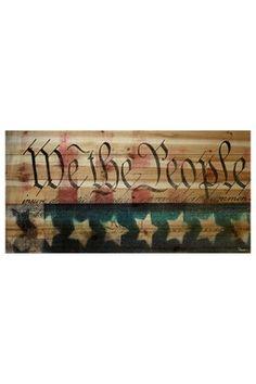 We the People Brown Distressed Wood Wall Art