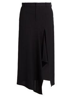 Raey Pinstriped asymmetric-slit twill skirt