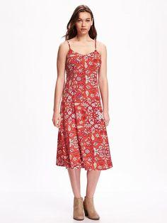 bd92c949aab I like the print and length not the spaghetti straps Cami Midi Dress
