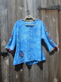 Sky Blue Raglan Tunic Hand Dyed Organic Hemp and by sylviascouture, $117.00